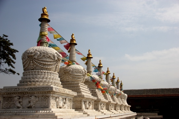 small white stupas