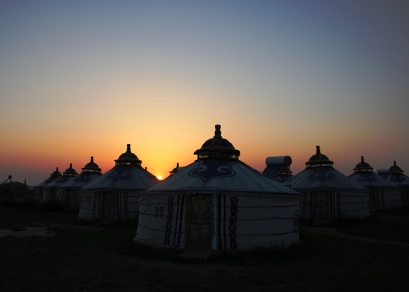 Small yurts sunset